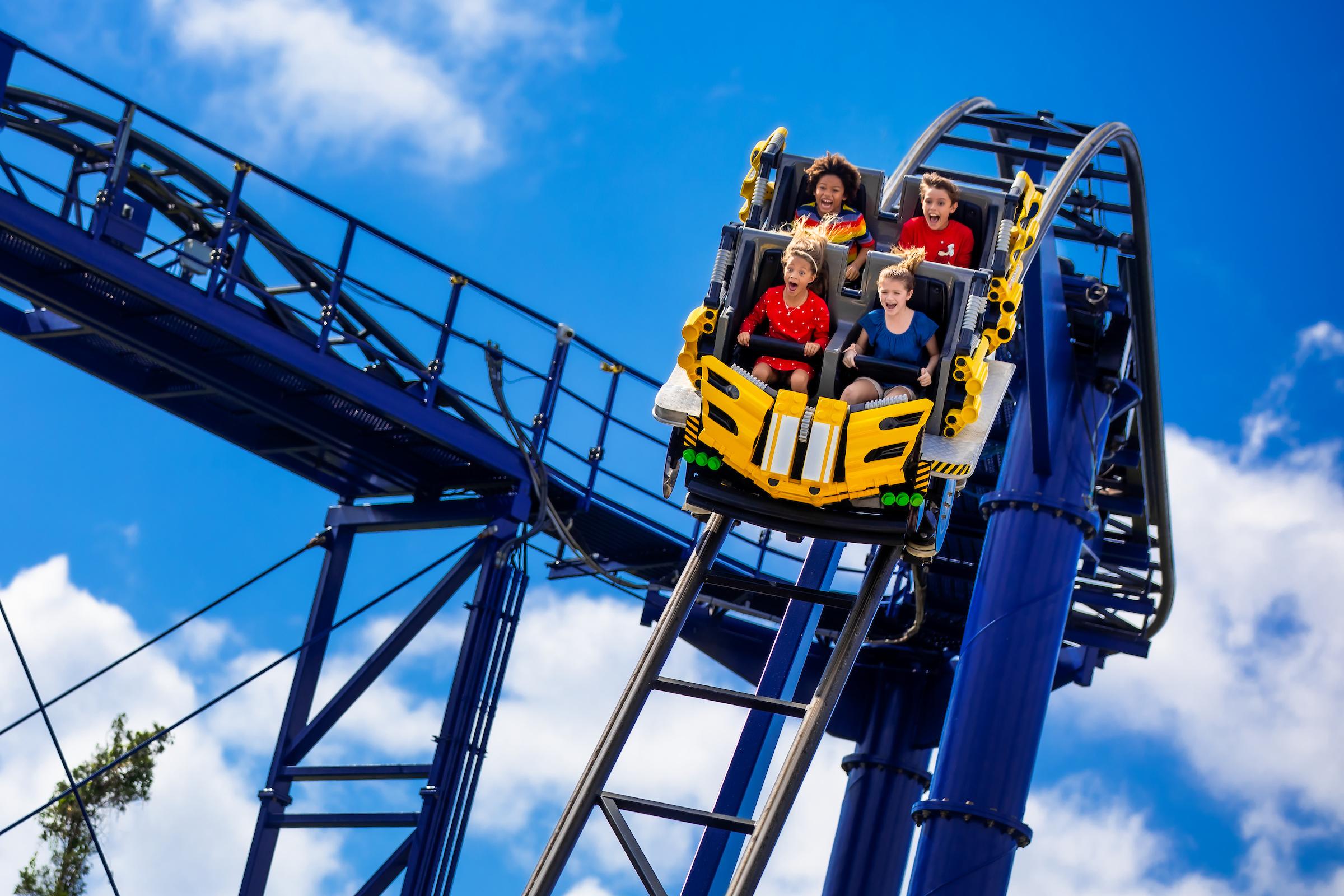 Kids on the great lego race ride at LEGOLAND florida
