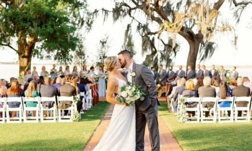 Wedding at Adams Estate, lake in background